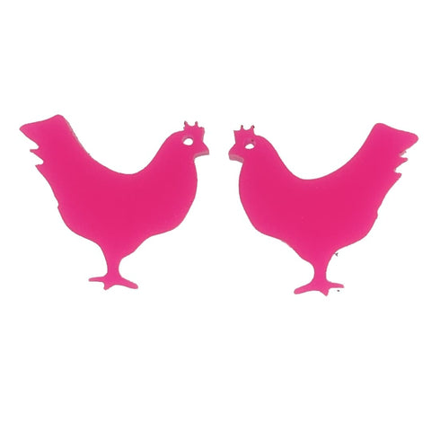 Chicken Earrings (Studs) - glossy pink