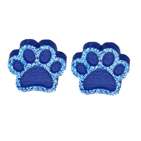 Glitter Paw Print Earrings (Studs) - blue