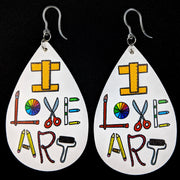 I Love Art Earrings (Teardrop Dangles) - Art Tools