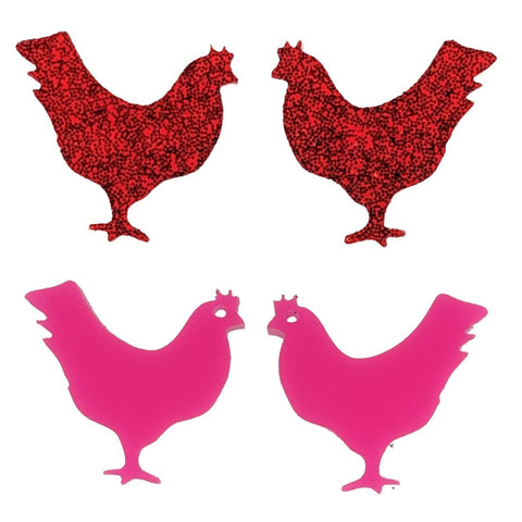 Chicken Earrings (Studs) - all colors