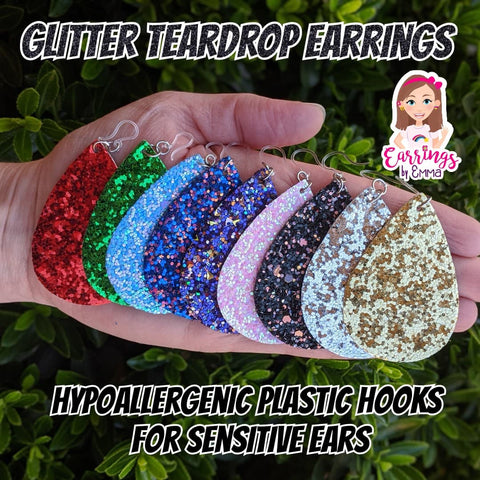 Glitter Teardrop Earrings (Teardrop Dangles)