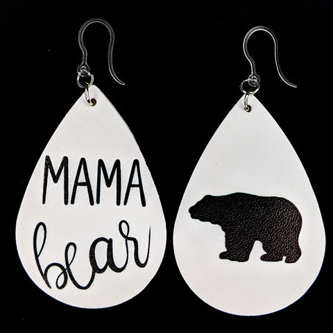 Mama Bear Earrings (Teardrop Dangles)