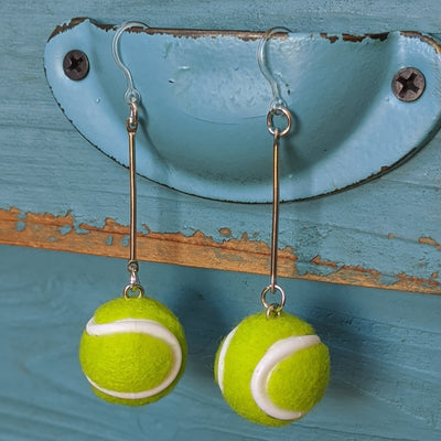 Tennis Ball Earrings (Dangles) - silver and yellow