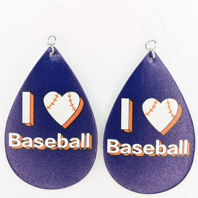 I Love Baseball Earrings (Teardrop Dangles)