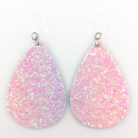 Glitter Teardrop Earrings (Teardrop Dangles) - pale pink/purple