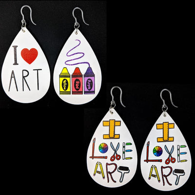 I Love Art Earrings (Teardrop Dangles) - All Styles