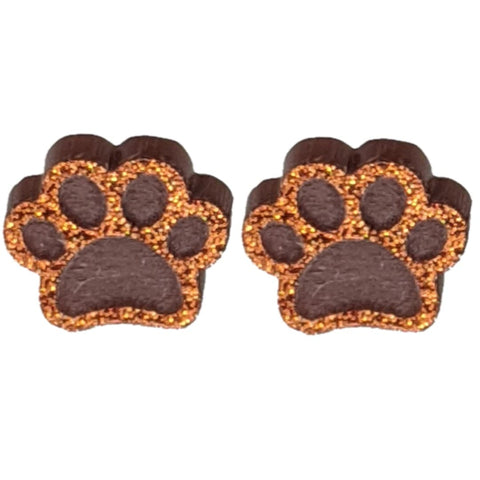 Glitter Paw Print Earrings (Studs) - brown