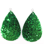 Glitter Teardrop Earrings (Teardrop Dangles) - green