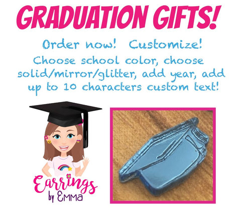 Graduation Cap Earrings (Studs) - customizable