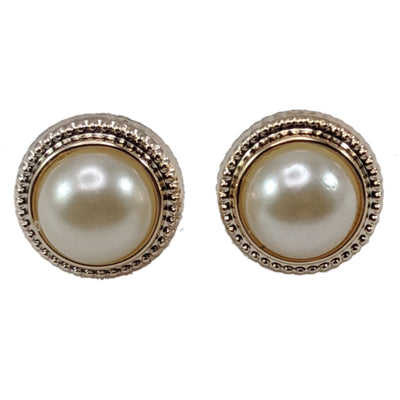 Gold Braided Pearl Earrings (Studs) - gold and pearl