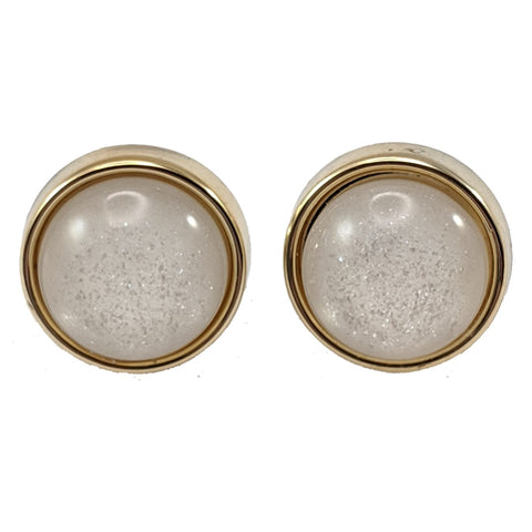 Gold Rimmed Glittery Pearl Earrings (Studs)