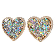 Gold Rimmed Glitter Heart Earrings (Studs) - silver