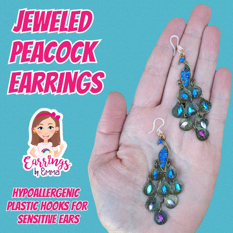 Jeweled Peacock Earrings (Dangles) - for sensitive ears