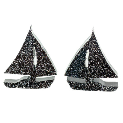 Sailboat Earrings (Studs) - black glitter