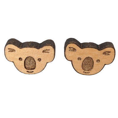 Koala Earrings (Studs) - brown