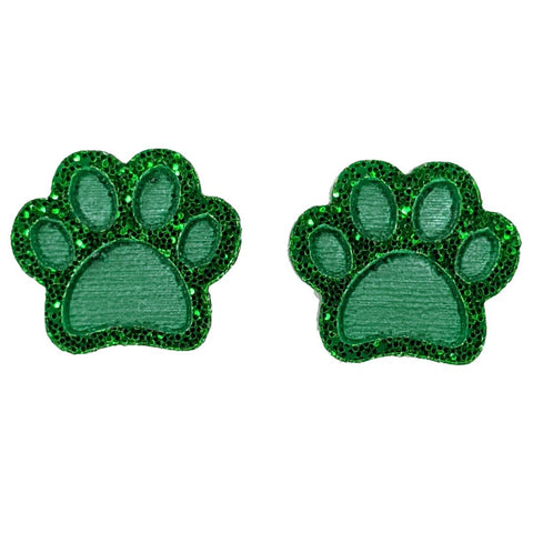 Glitter Paw Print Earrings (Studs) - green