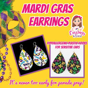 Mardi Gras Fleur-de-lis Earrings (Teardrop Dangles) - plastic hooks