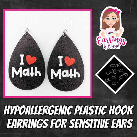 I Love Math Earrings (Teardrop Dangles) - earrings by emma
