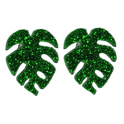 Monstera Leaf Earrings (Studs) - green