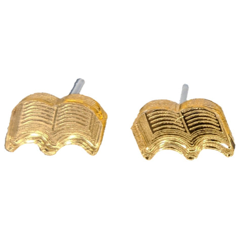 Book Earrings (Studs) - Gold