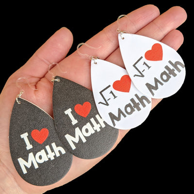 I Love Math Earrings (Teardrop Dangles) - all colors