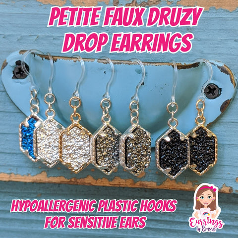 Petite Faux Druzy Drop Earrings (Dangles) - various colors
