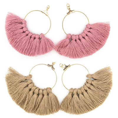Gold Hoop Tassel Earrings (Dangles) - all colors