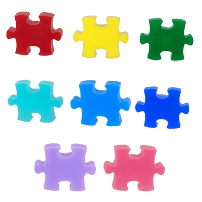 Glossy Puzzle Piece Earrings (Studs) - all colors