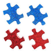 Glitter Puzzle Piece Earrings (Studs) - all colors