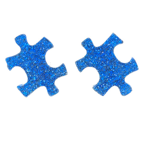 Glitter Puzzle Piece Earrings (Studs) - blue