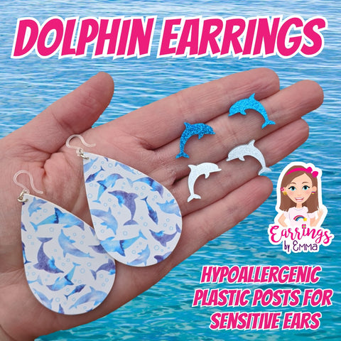 Dolphin Teardrop Earrings (Teardrop Dangles)
