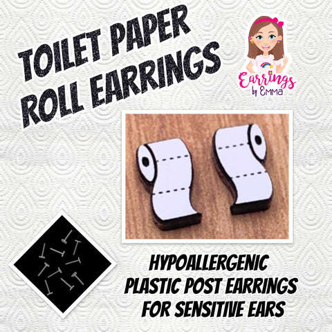 Toilet Paper Roll Earrings (Studs)