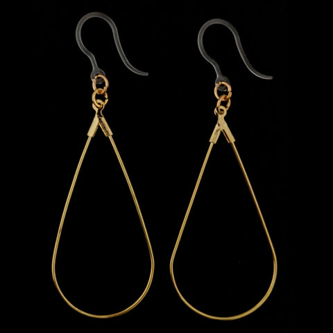 Teardrop Clothespin Earrings (Dangles) - gold