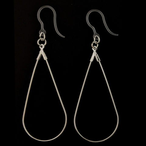 Teardrop Clothespin Earrings (Dangles) - silver