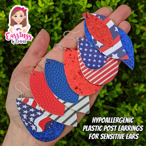 Double Layer Glitter Flag Earrings (Teardrop Dangles)