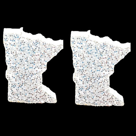 Minnesota Earrings (Studs) - white glitter