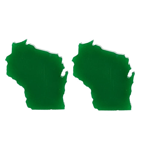 Wisconsin Earrings (Studs) - glossy green