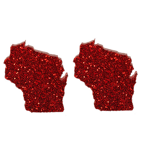Wisconsin Earrings (Studs) - glitter red