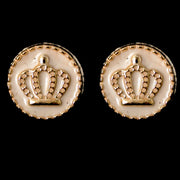 Gold Rimmed Crown Earrings (Studs) - white