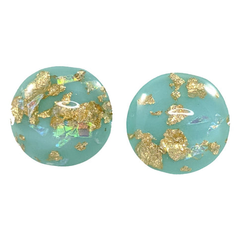 Gold Fleck Button 12mm Earrings (Studs)