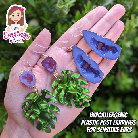 Faux Amethyst Leaf Earrings (Dangles)