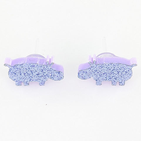 Hippo Earrings (Studs) - glitter purple