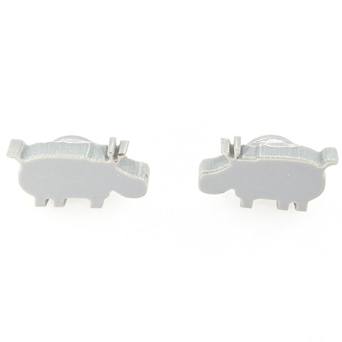 Hippo Earrings (Studs) - glossy gray