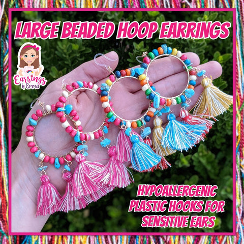 Large Beaded Hoop Earrings (Dangles)