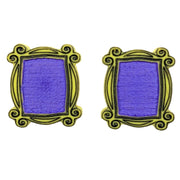 Peep Hole Frame Earrings (Studs) - purple