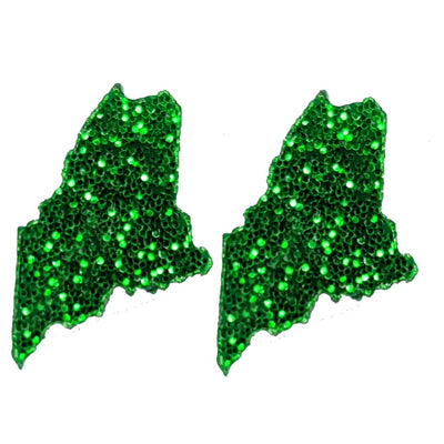 Maine Earrings (Studs) - glitter green