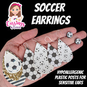 Triple Layer Glitter Soccer Earrings (Teardrop Dangles)
