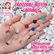 Crocodile Button Earrings (Studs)