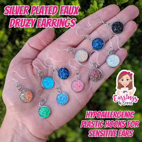 Silver Plated Faux Druzy Earrings (Dangles) - size comparison hand