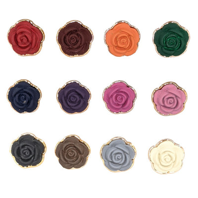 Gold Rimmed Rose Earrings (Studs) - all colors